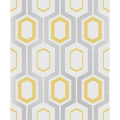 56.4 sq. ft. Mortimer Yellow Geometric Wallpaper