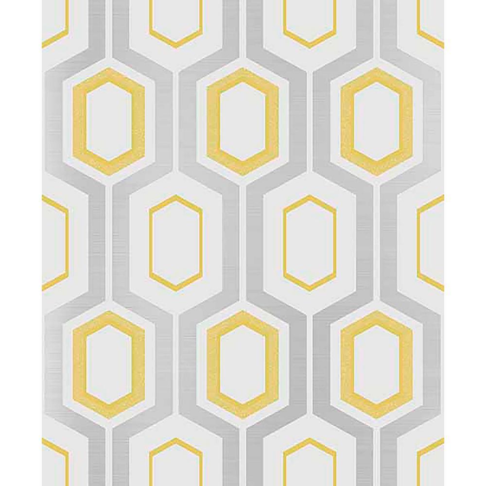 Mortimer Yellow Geometric Sample Yellow Wallpaper Sample