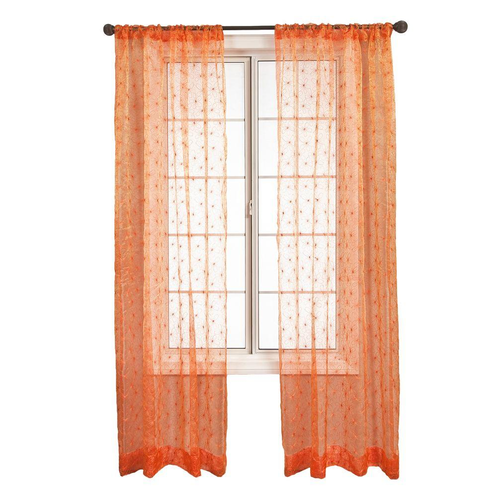 Home Decorators Collection Sheer Orange Fantasia Rod Pocket Curtain - 55 in.W x 96 in. L