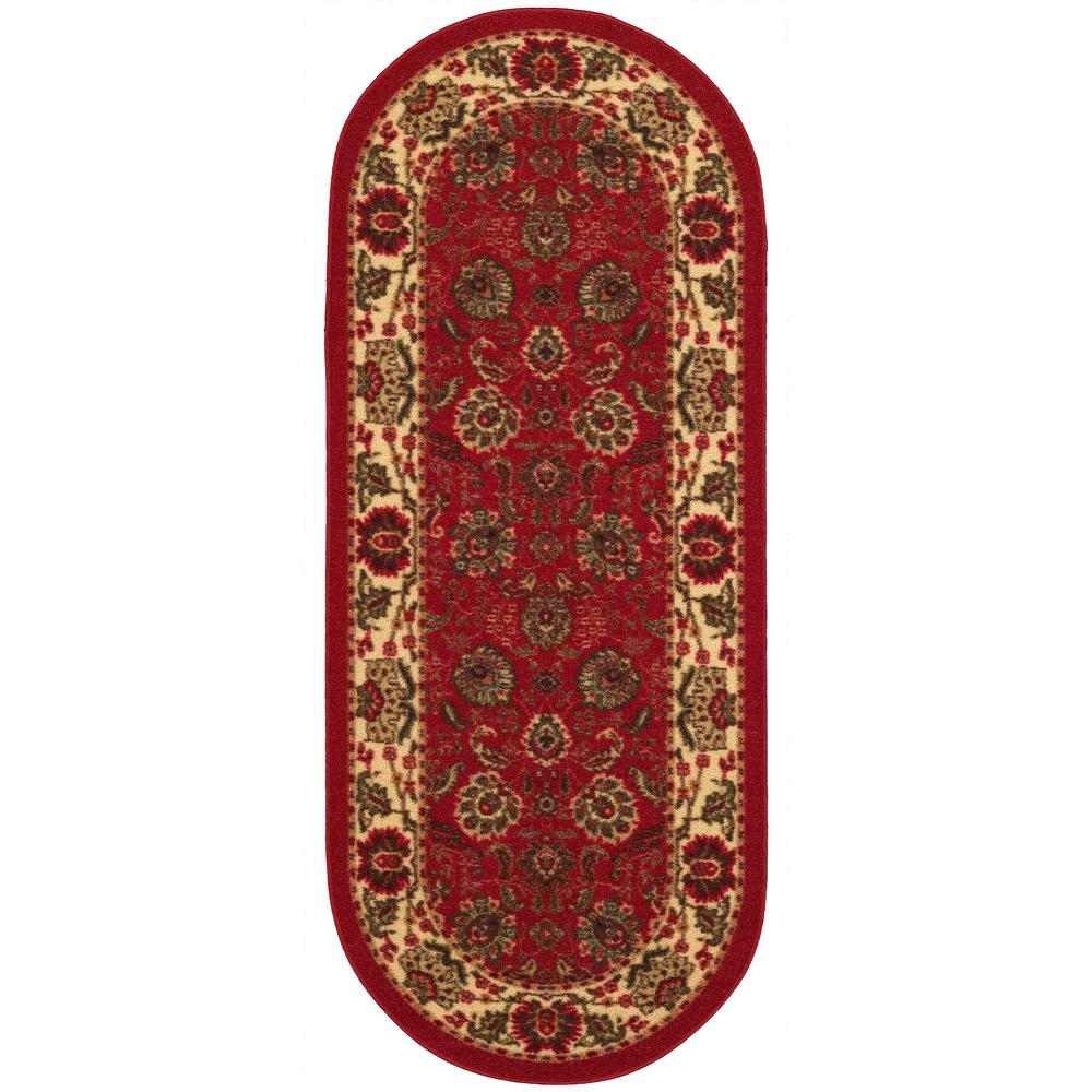 Ottomanson Traditional Floral Design Dark Red 2 Ft X 7 Ft: Ottomanson Ottohome Collection Traditional Floral Design