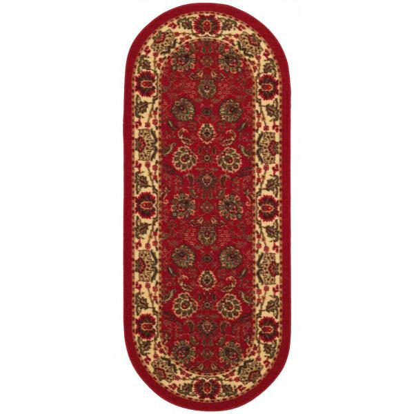 Ottohome Collection Traditional Floral Design Dark Red 2 ft. x 5 ft. Oval Runner Rug