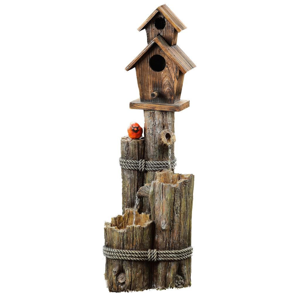 Alpine Three Tiered Birdhouse with Cardinal Fountain, Bro...