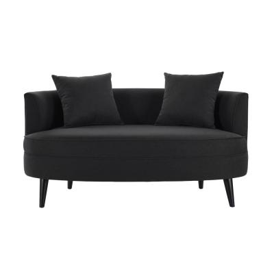 Leon Settee with Throw Pillows Jet Black