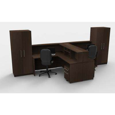 12-Piece Espresso Office Reception Desk Collaboration Center