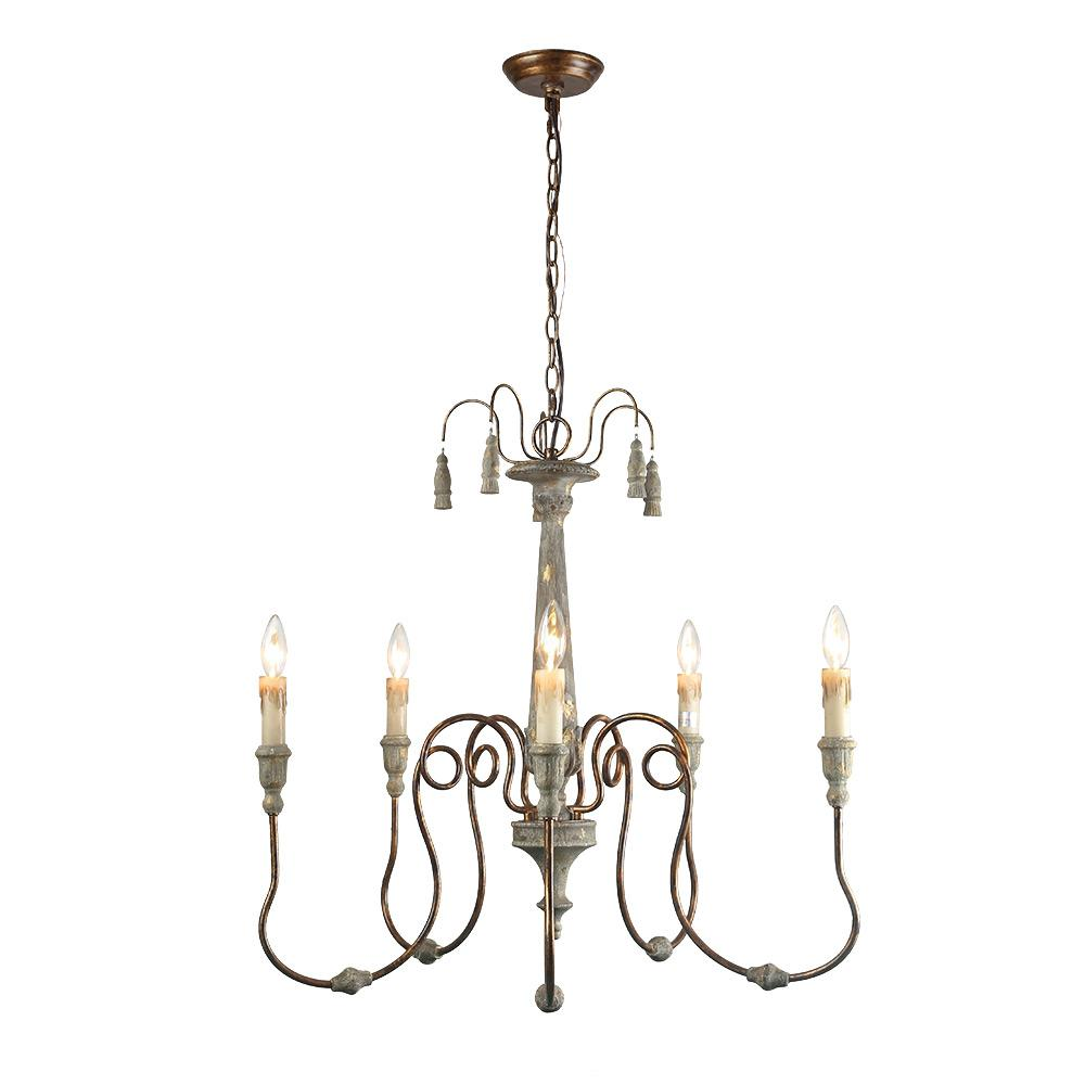 Lnc 5 Light Gray Shabby Chic French Country Chandelier