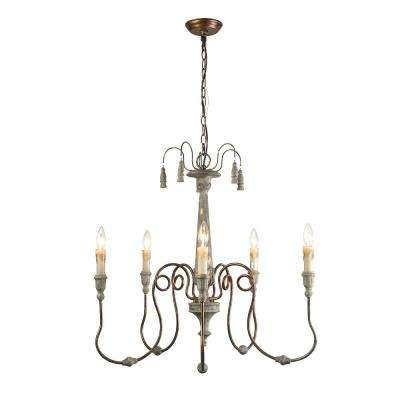 5-Light Gray Shabby Chic French Country Chandelier