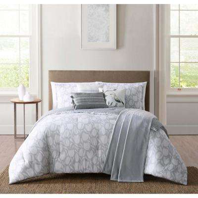 Leucadia White and Grey King Comforter Set