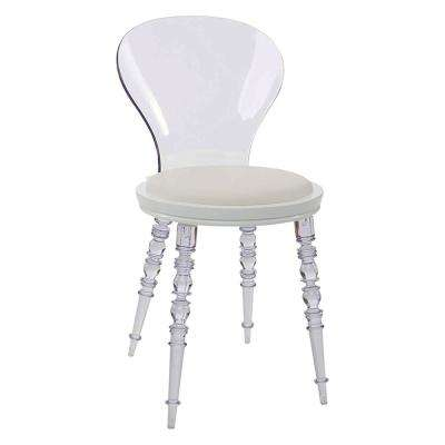 Wynona White Cushion Dining Chair with Clear Legs and Back