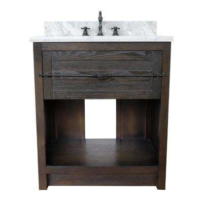 Plantation II 31 in. W x 22 in. D Bath Vanity in Brown with Marble Vanity Top in White with White Oval Basin