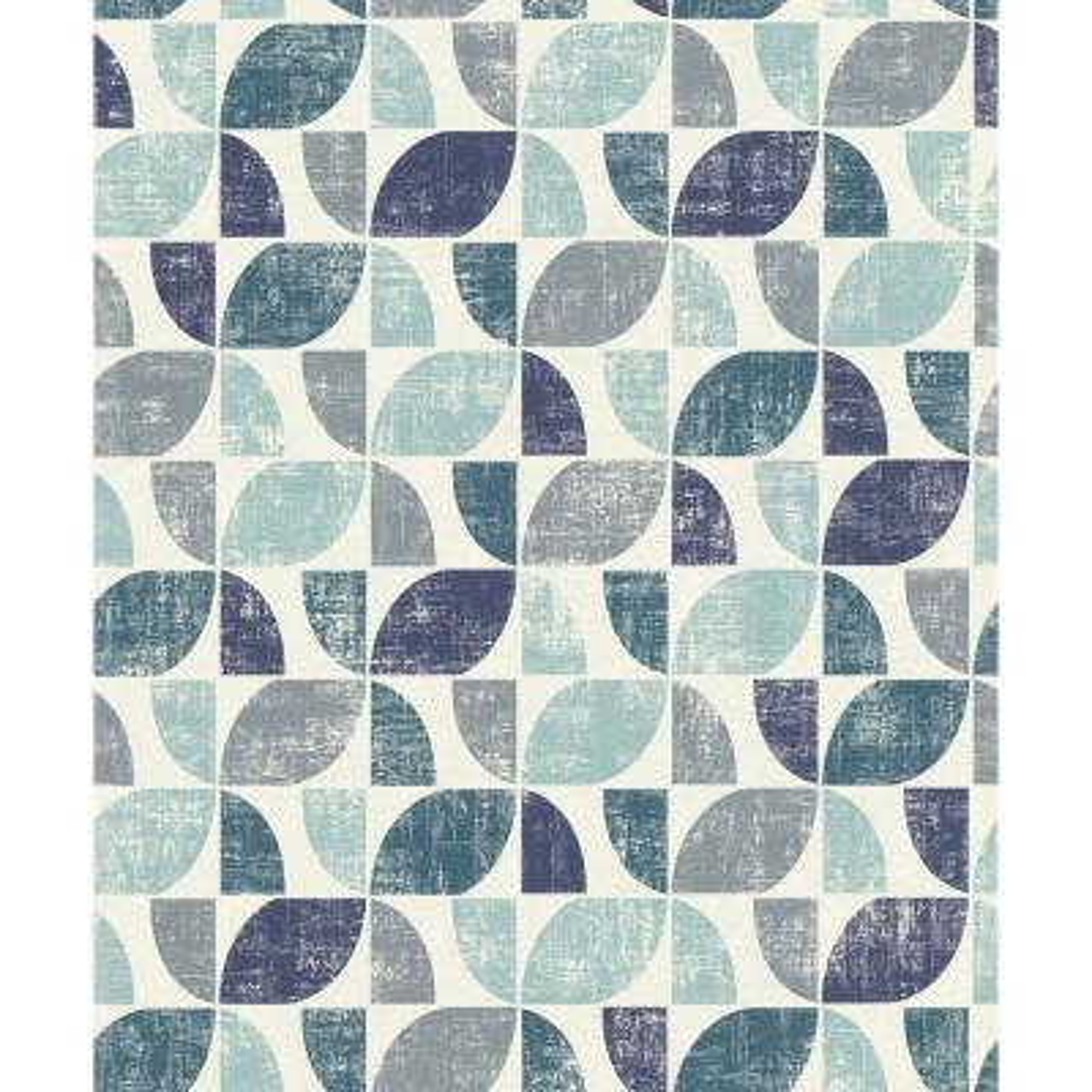 8 in. x 10 in. Dorwin Blue Geometric Wallpaper Sample
