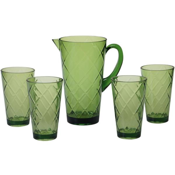 Certified International 5-Piece Green Drinkware Set