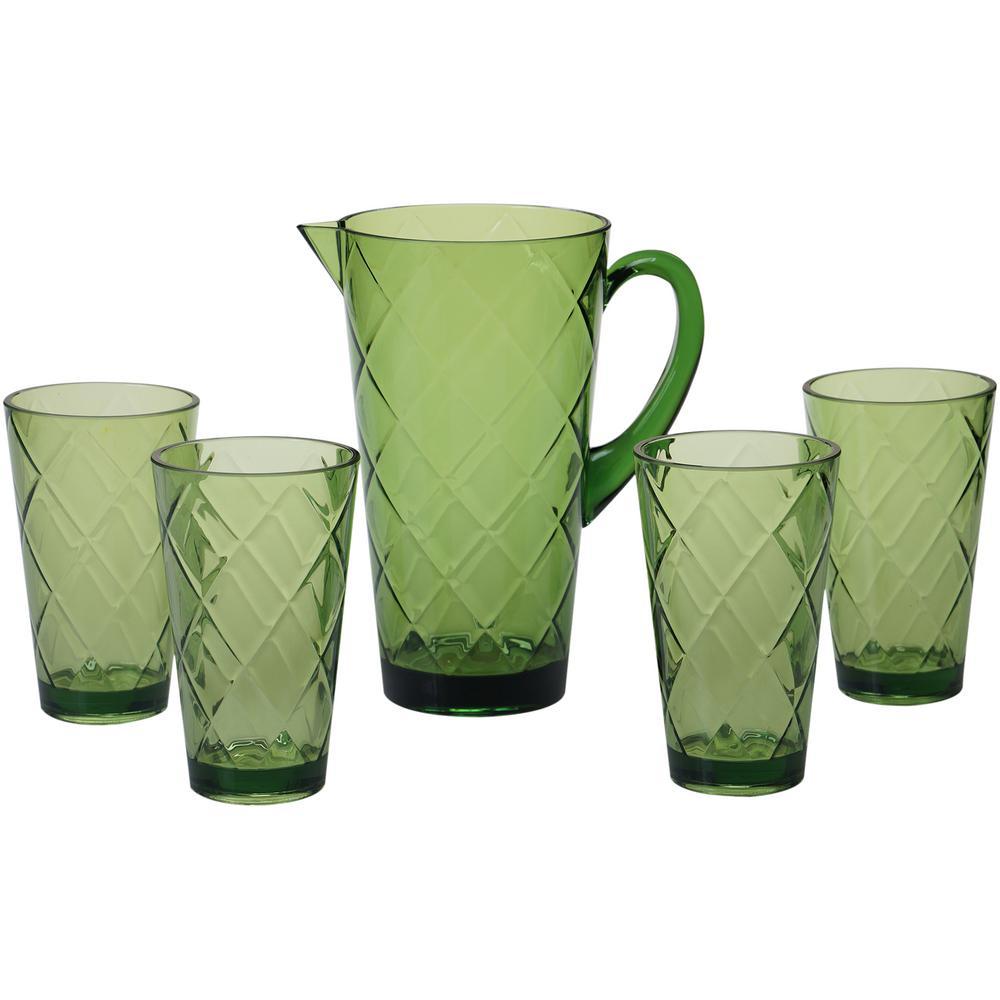 5-Piece Green Drinkware Set