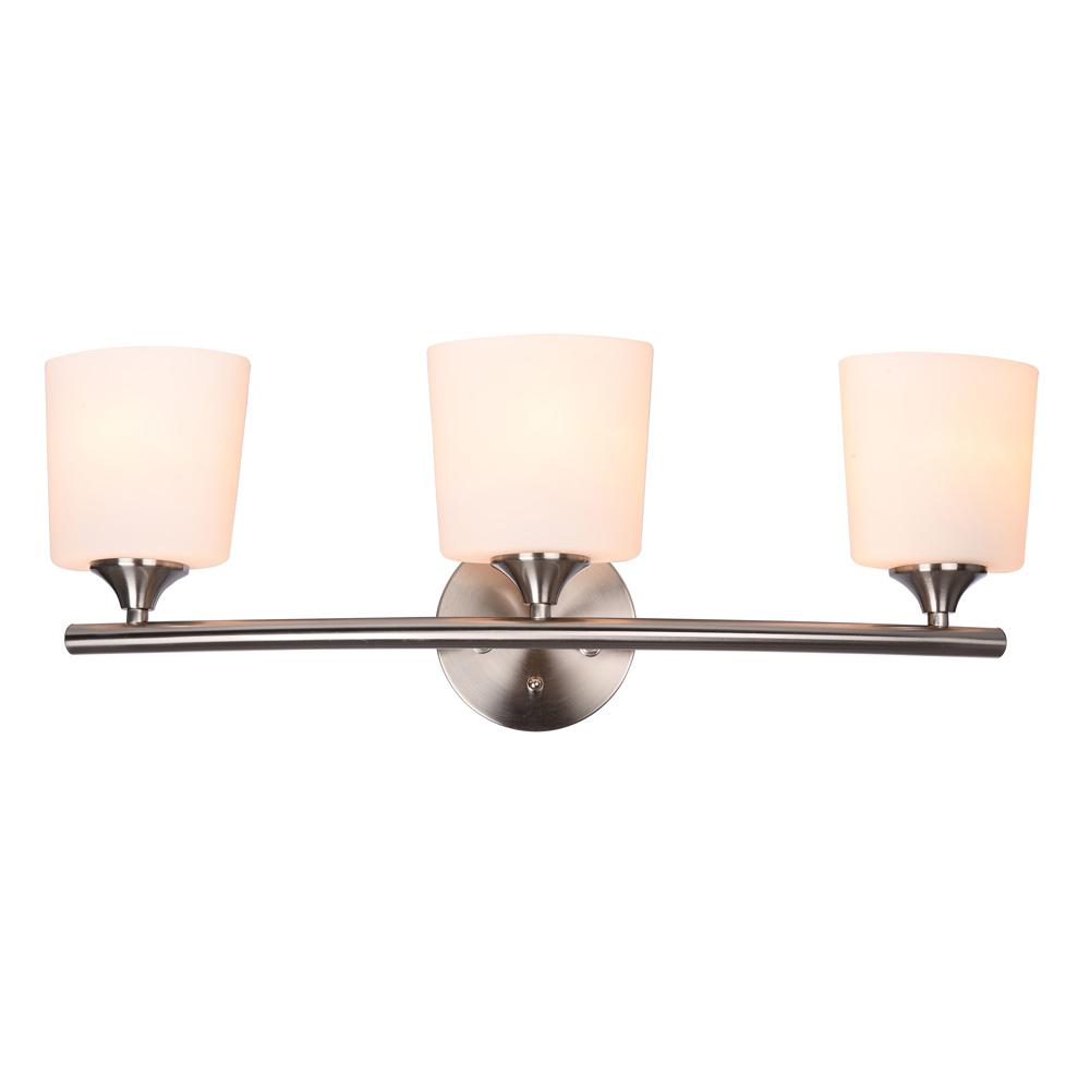 Hampton Bay GreyLock 3-Light Brushed Nickel Vanity Light with Bowed ...