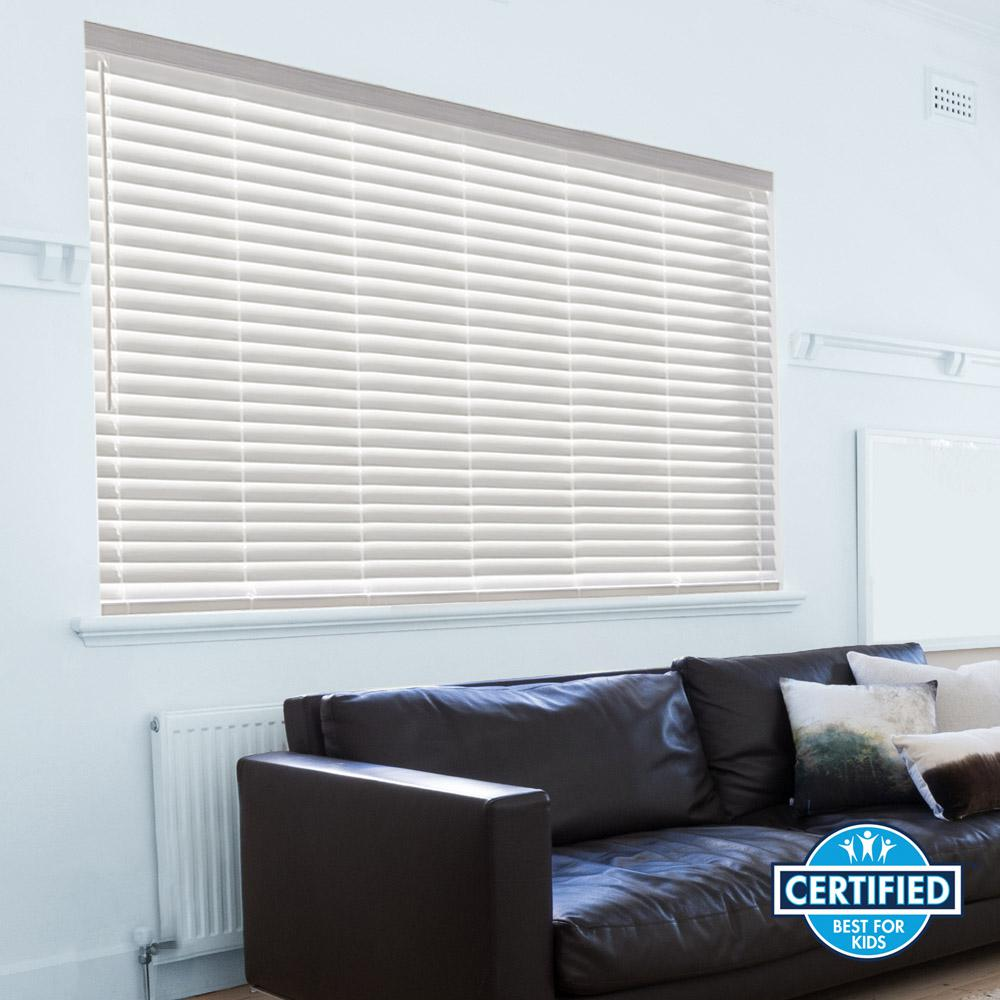 Home decorators collection white cordless 2 in faux wood blind 44 5 in w x 64 in l actual - Home decorators faux wood blinds gallery ...