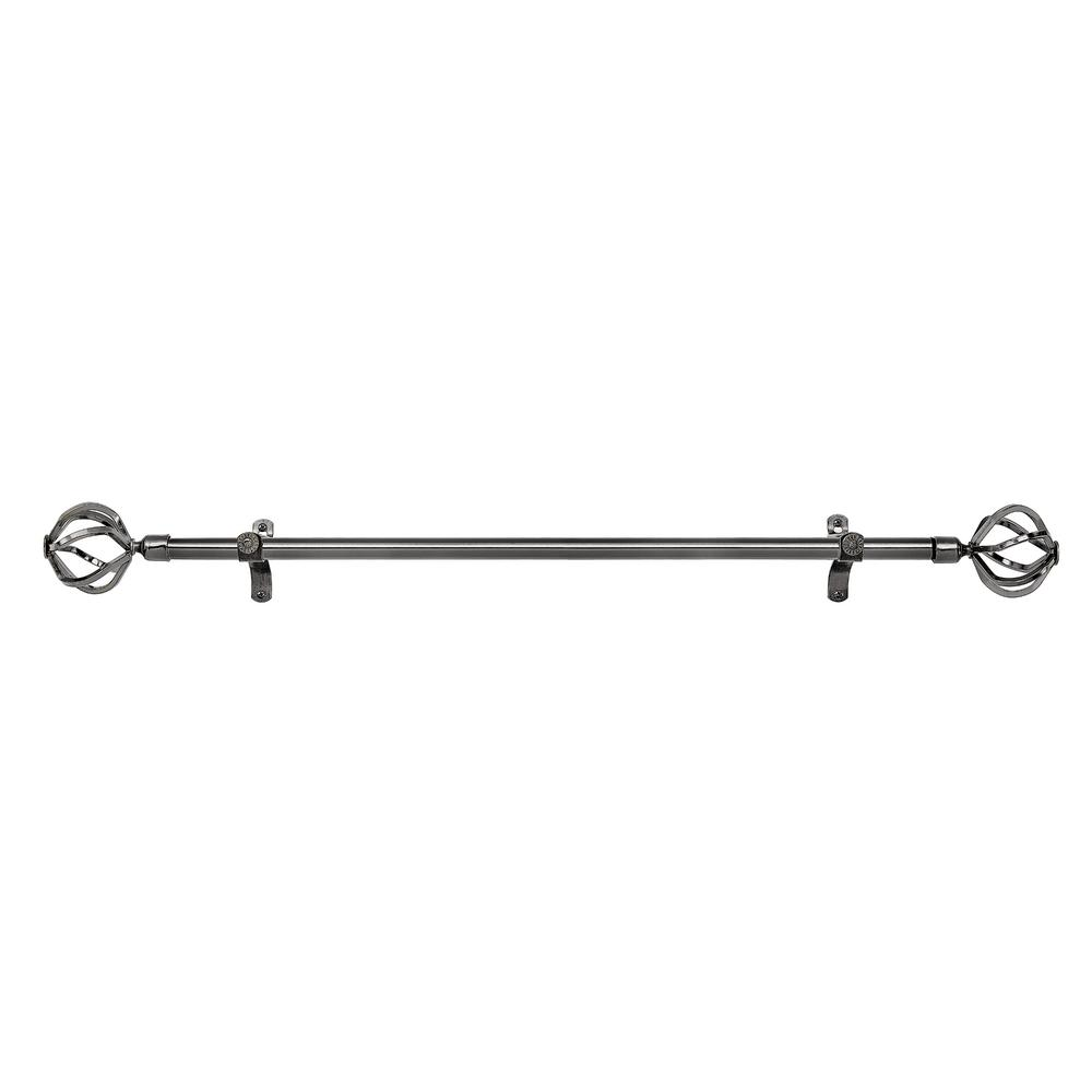 Achim Metallo 28 in. L to 48 in. L Decorative Carrera Single Rod and Finial in Brushed Nickel