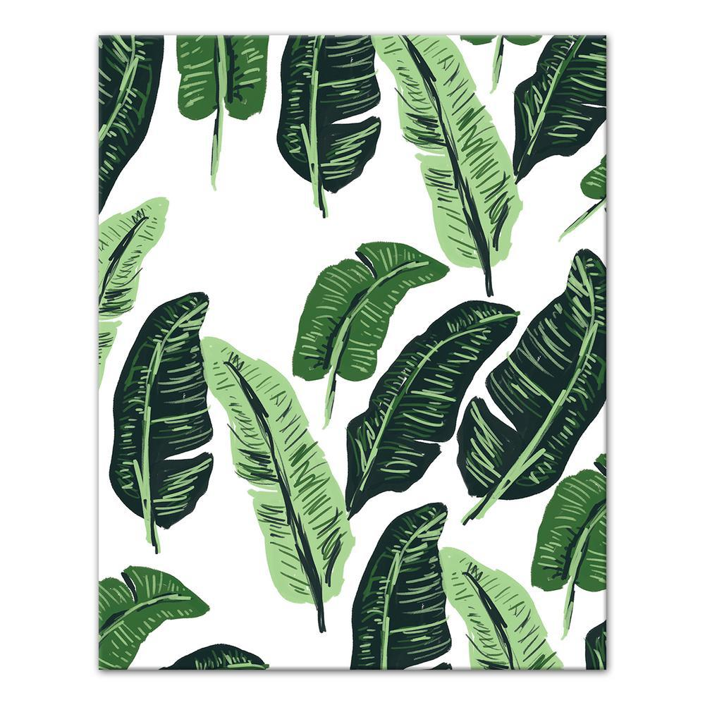 designs direct 16 in x 20 in green tropical palm leaves on white