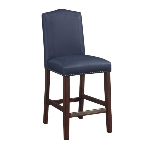 Carteret 24 in. Navy Blue Cushioned Leather Counter Stool 3206-024BL
