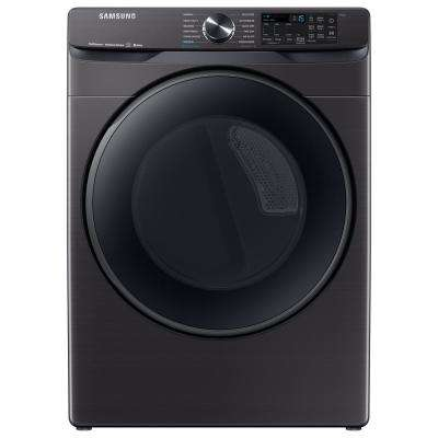 7.5 cu. ft. 120-Volt Black Stainless Steel Front Load Gas Dryer with Steam Sanitize+ (Pedestals Sold Separately)