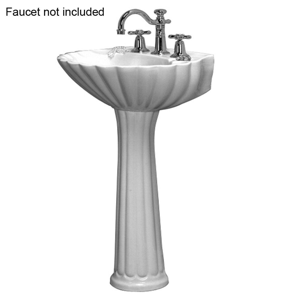Pegasus Bali 19 In. Pedestal Combo Bathroom Sink For 8 In. Widespread In  White