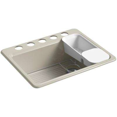 Riverby Undermount Cast Iron 27 in. 5-Hole Single Bowl Kitchen Sink Kit in Sandbar