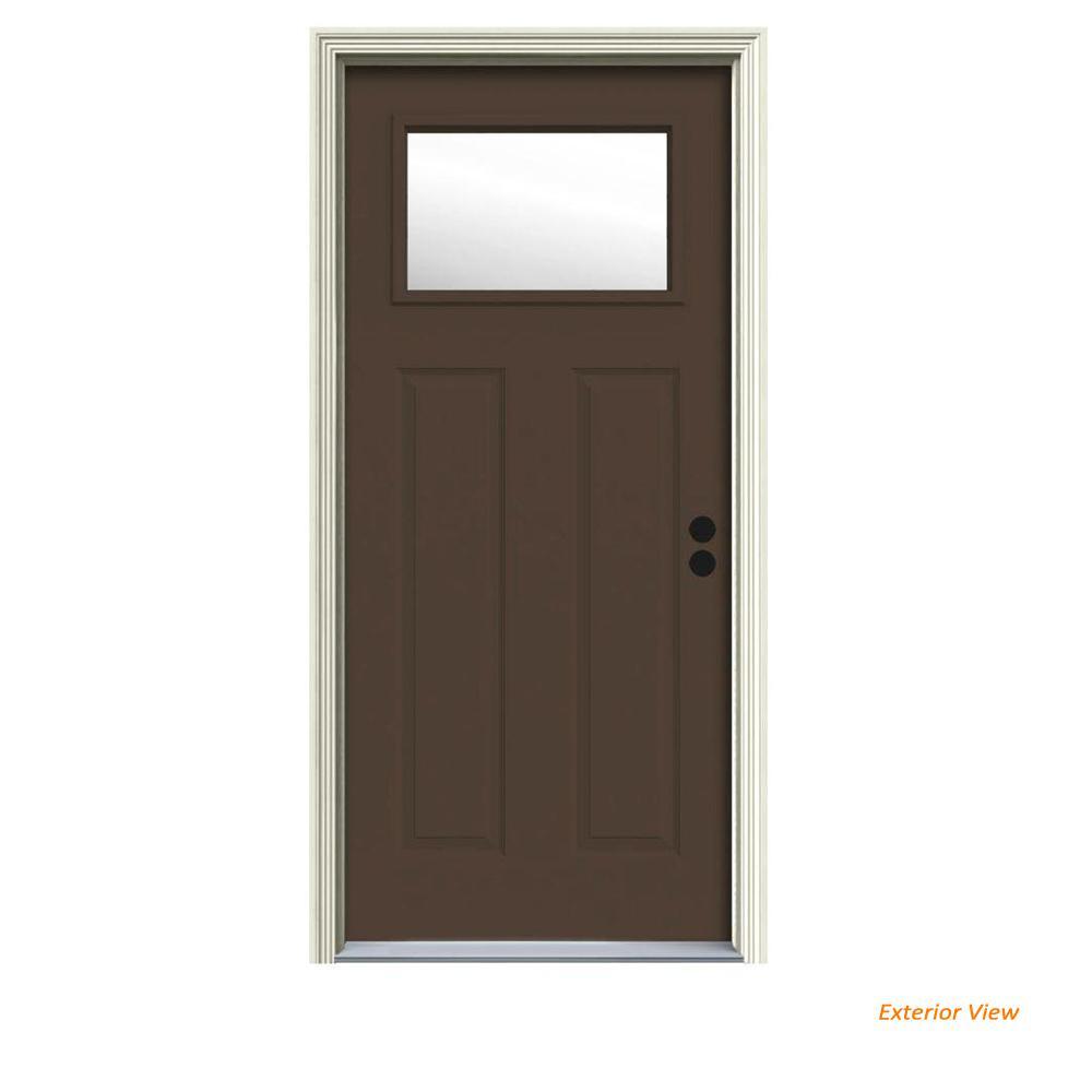 JELD-WEN 34 in. x 80 in. 1 Lite Craftsman Dark Chocolate Painted Steel Prehung Left-Hand Inswing Front Door w/Brickmould