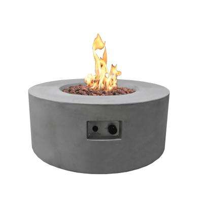 Tramore 34 in. x 15 in. Grey Round Concrete Propane Fire Pit Table with Electronic Ignition Cover and Lava Rock