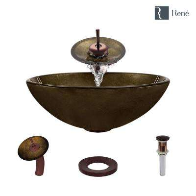 Glass Vessel Sink in Regal Bronze and Earth Tones with Waterfall Faucet and Pop-Up Drain in Oil Rubbed Bronze