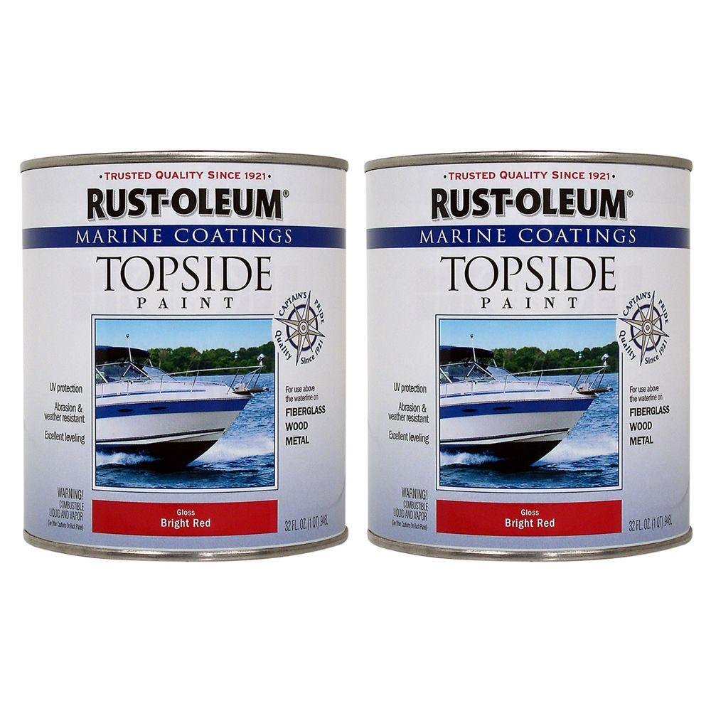 Rust-Oleum Marine Coatings 1 qt. Gloss Bright Red Topside Paint (2-Pack)-DISCONTINUED