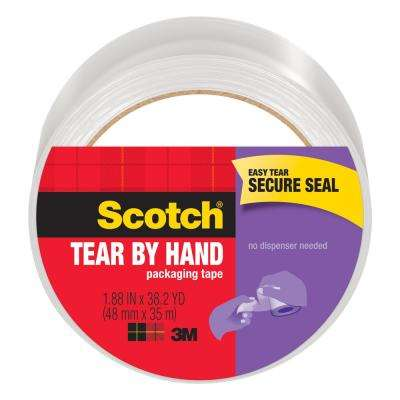 Scotch 1.88 in. x 38.2 yds., Tear By Hand Mailing Packaging Tape, Clear (1-Pack)
