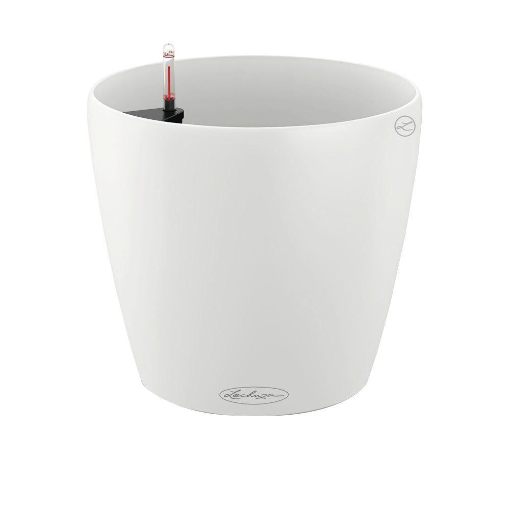 Lechuza Trend Classico Color 13 In Dia White Self Watering Plastic Planter 13210 The Home Depot