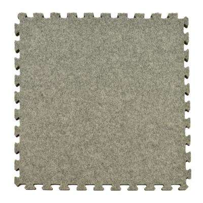 Royal Light Gray Carpet Velour Plush 10 ft. x 10 ft. x 5/8 in. Interlocking Carpet Tile 96.875 sq. ft. (25 piece Kit)