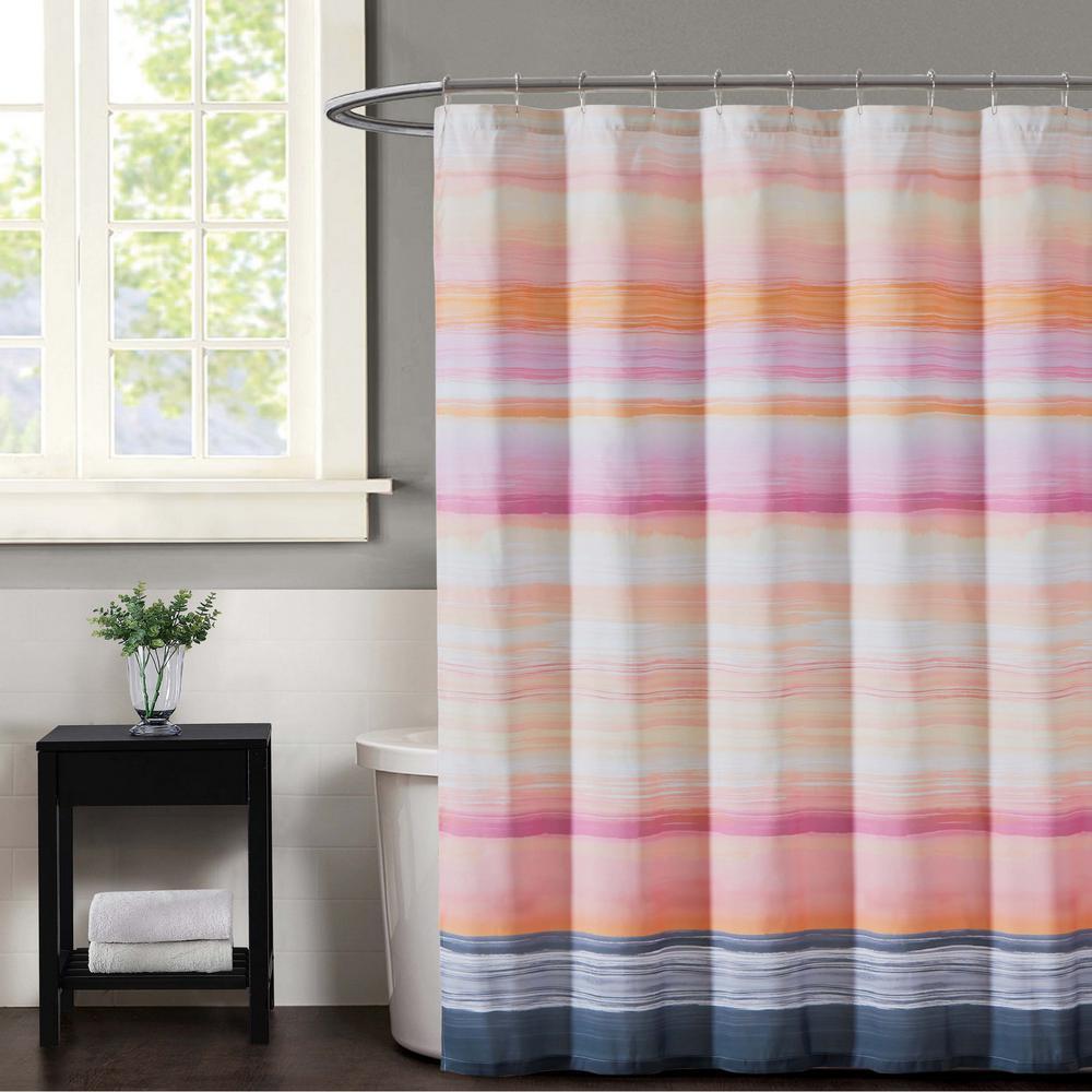Sunset Magenta And Grey Stripe Shower Curtain