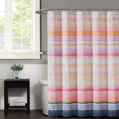 Sunset Magenta And Grey Stripe Shower Curtain