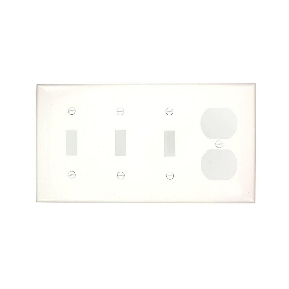 Leviton 4 Gang Standard Size 3 Toggles 1 Duplex Receptacle