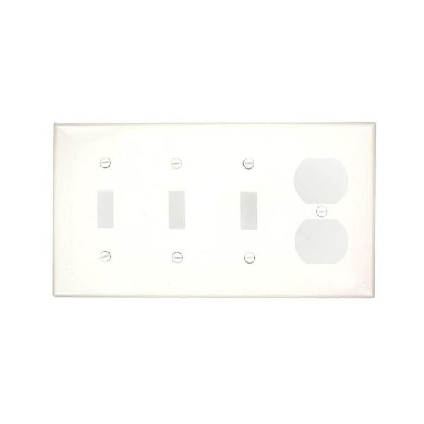White 4-Gang 3-Toggle/1-Duplex Wall Plate (1-Pack)