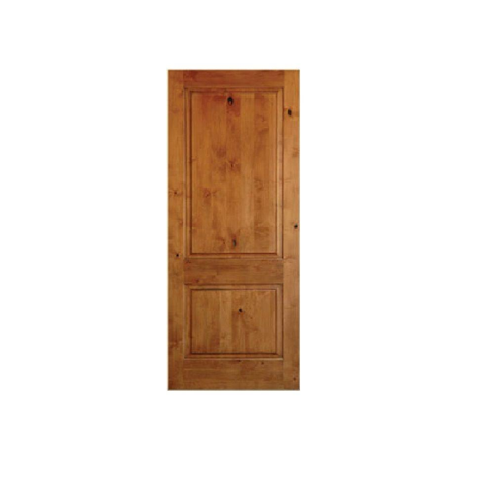 Krosswood Doors 24 In. X 80 In. Rustic Knotty Alder 2-Panel Square Top Solid Wood Stainable