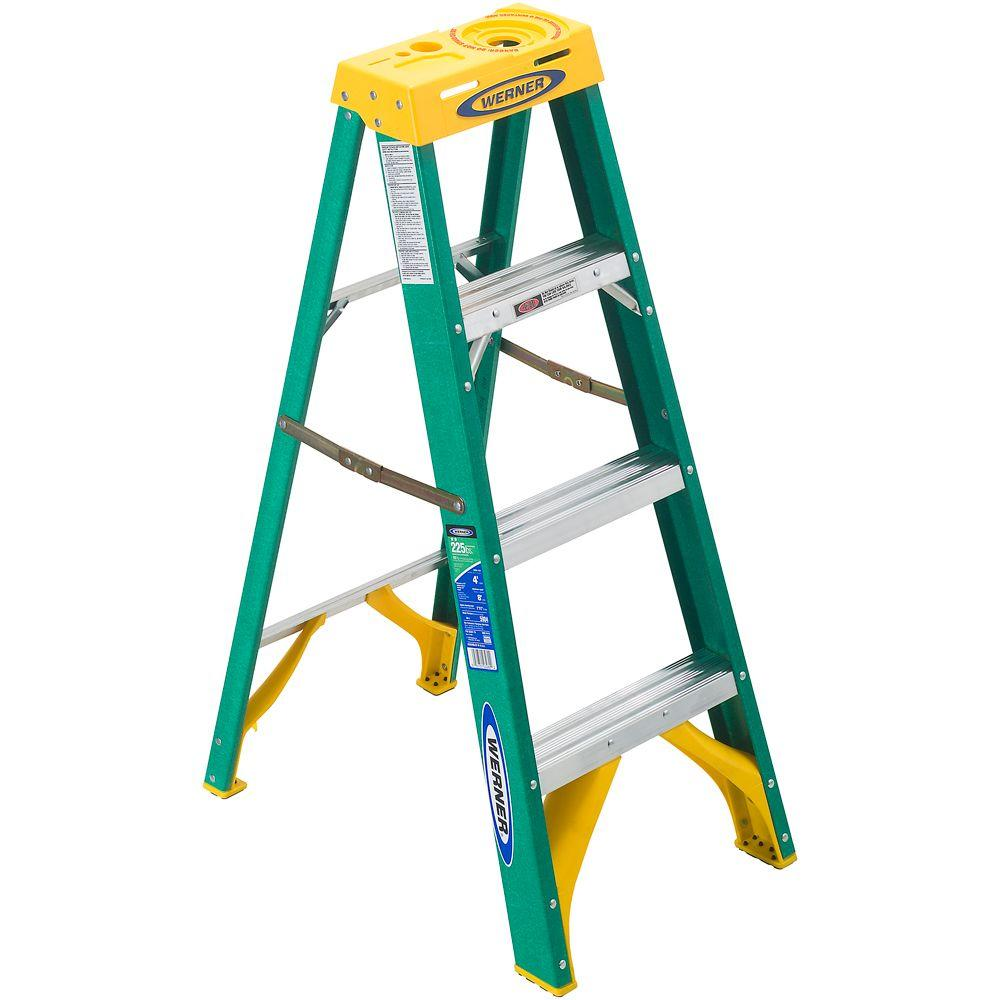 Werner 4 ft. Fiberglass Step Ladder with 225 lb. Load Capacity Type II Duty Rating