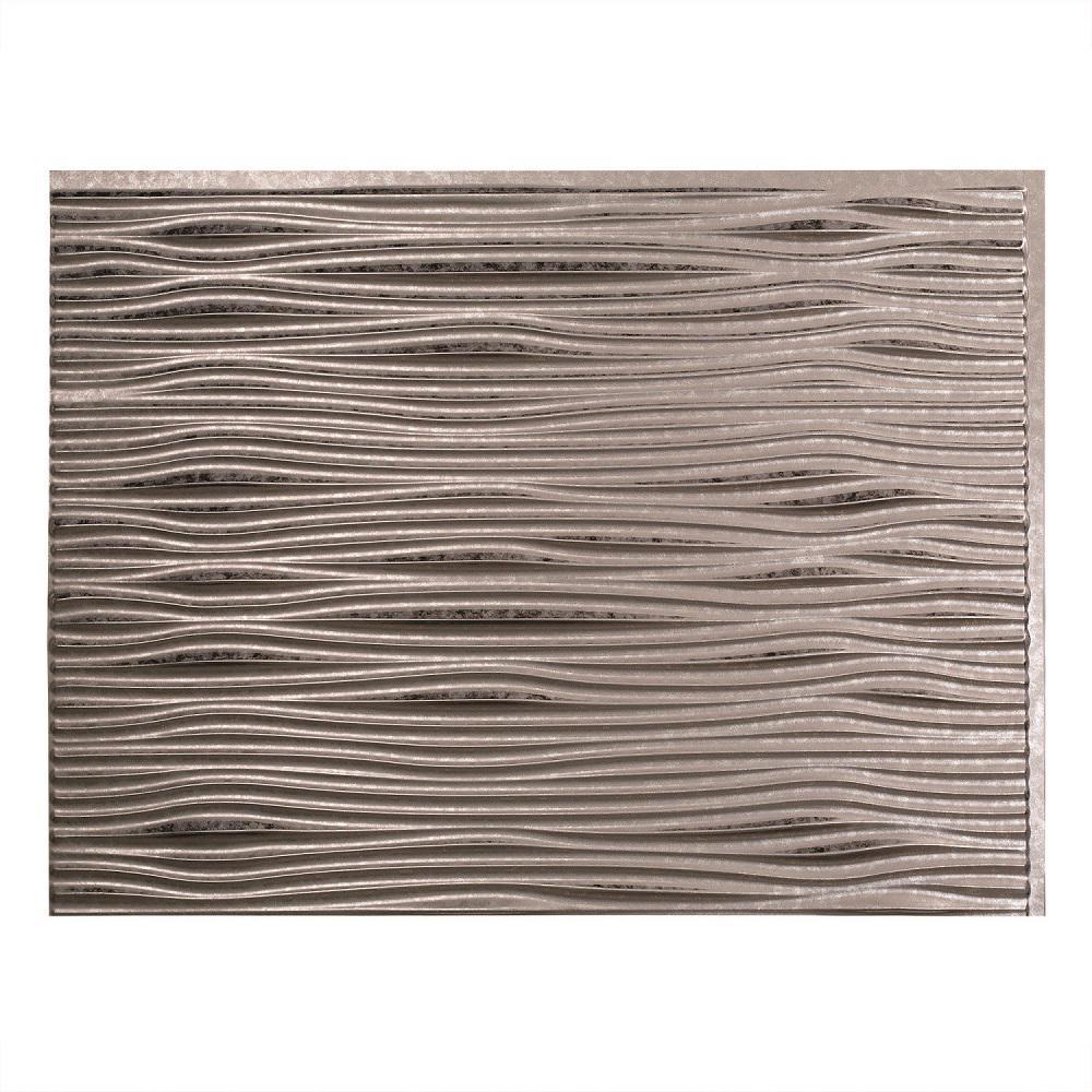 Fasade 24 in. x 18 in. Waves PVC Decorative Tile Backsplash in Galvanized Steel
