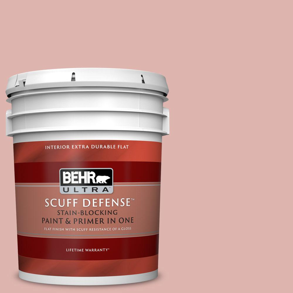 Behr Ultra 5 Gal S160 2 Pink Quartz Extra Durable Flat Interior Paint And Primer In One 172005 The Home Depot