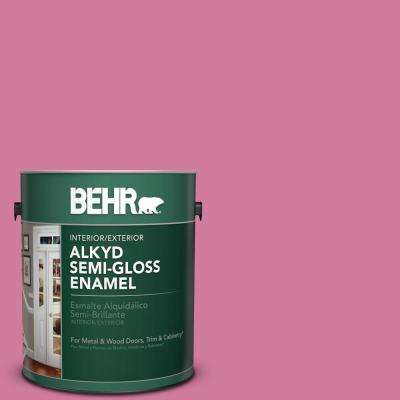 1 gal. #P130-5 Little Bow Pink Semi-Gloss Enamel Alkyd Interior/Exterior Paint