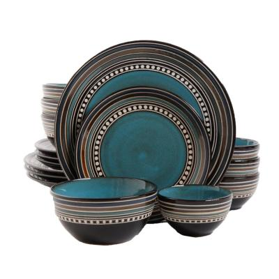 Cafe Versailles 16-Piece Casual Blue Earthenware Dinnerware Set (Service for 4)