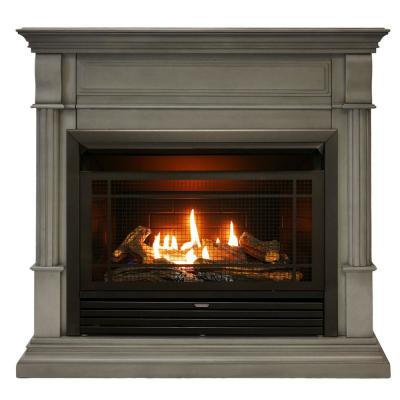 40 in. Full Size Ventless Liquid Propane or Natural Gas Dual Fuel Fireplace with Remote in Slate Gray
