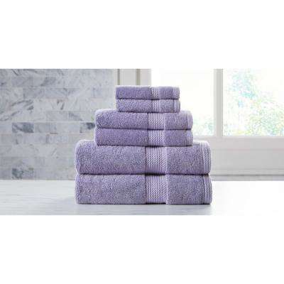 Extravagant Lilac with Silver Antibacterial Material Towel Set (6-Piece)
