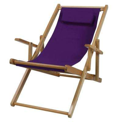 Natural Frame and Purple Canvas Solid Wood Sling Chair