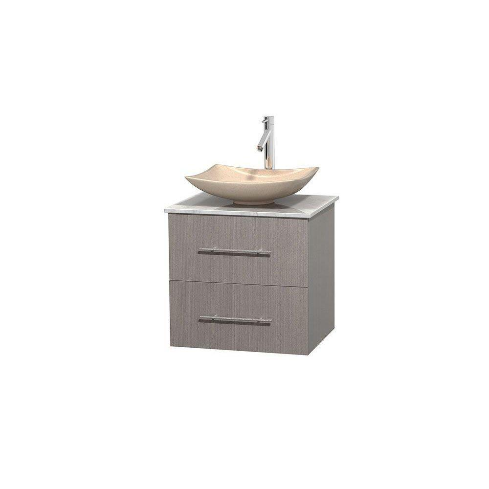 Wyndham Collection Centra 24 in. Vanity in Gray Oak with Marble Vanity Top in Carrara White and Sink