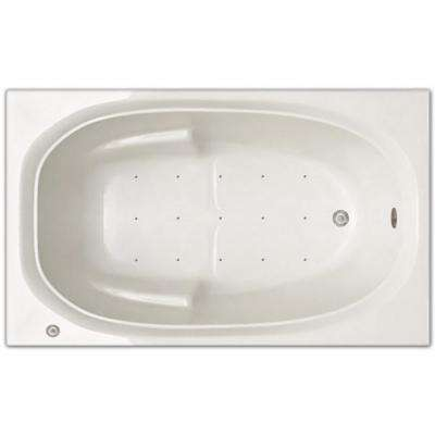 5 ft. Left Drain Drop-in Rectangular Whirlpool and Air Bath Tub in White