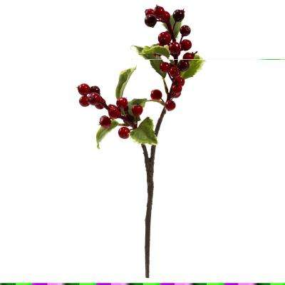 Indoor 16 in. Holly Berry Artificial Flower (Set of 6)