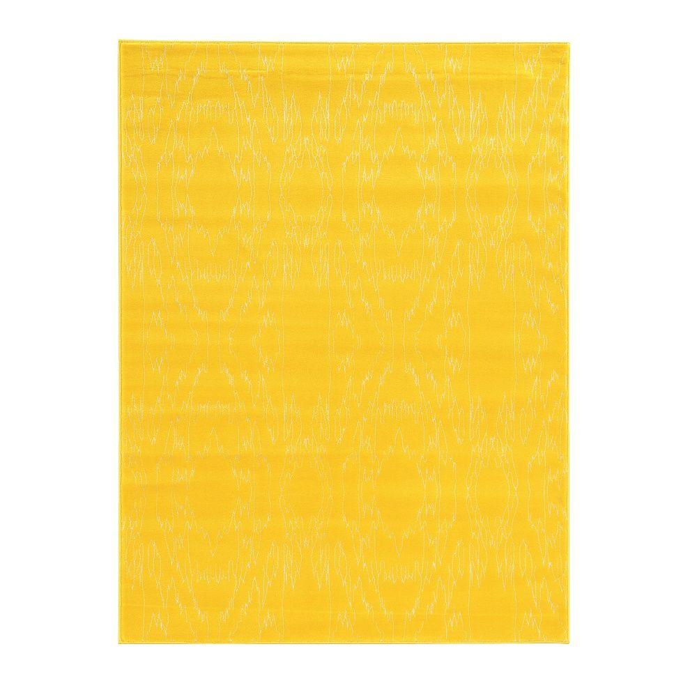 Linon Home Decor Prisma Electric Yellow and White 8 ft. x 10 ft. 4 in. Indoor Area Rug