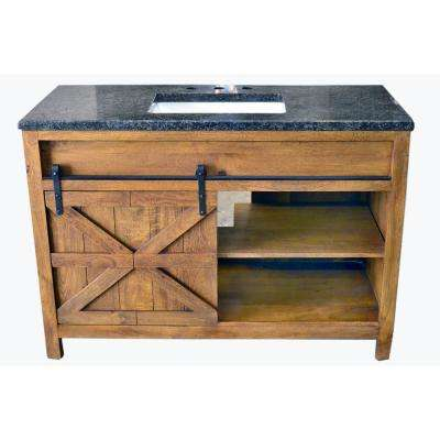 Traditional 48 in. wide Single Barn Door Vanity in Antique Finish