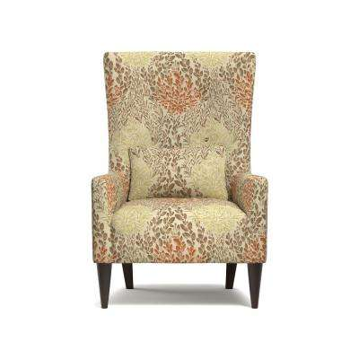 Venecia Orange Multi Floral Shelter High Back Wing Chair